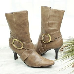 CL by Laundry Olive Green/Gold Buckle Boots Heels